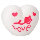 Love Heart Shape 1-LED Colorful Light Night Lamp - White (3 x AG13)