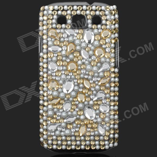 Shining Rhinestone Plastic Case for Samsung i9300 Galaxy S3 - Yellow + White + Silver shining rhinestone plastic case for samsung i9300 galaxy s3 purple transparent