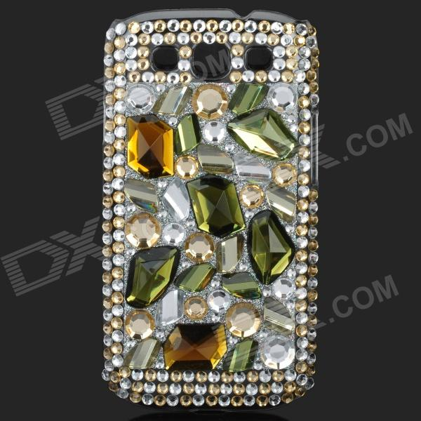 Shining Rhinestone Plastic Case for Samsung i9300 Galaxy S3 - Green + Silver shining rhinestone plastic case for samsung i9300 galaxy s3 purple transparent