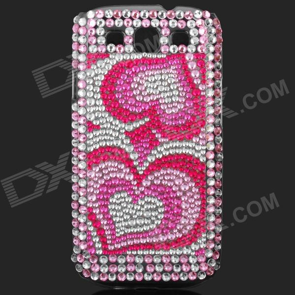 Shining Colorful Rhinestone Plastic Case for Samsung i9300 Galaxy S3 - Pink + Silver kinston colorful flowers and butterflies pattern plastic protective case for samsung galaxy s3 i9300