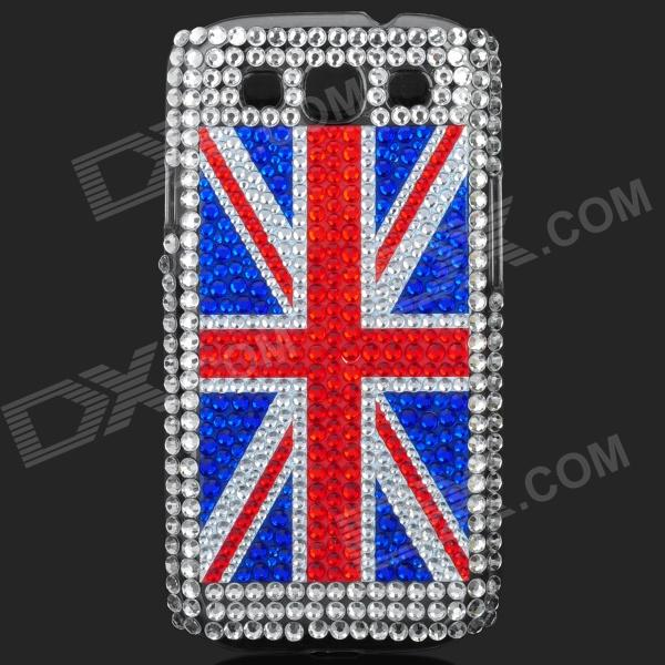 UK National Flag Pattern Shining Rhinestone Plastic Case for Samsung i9300 - Silver + Red + Blue shining rhinestone plastic case for samsung i9300 galaxy s3 purple transparent