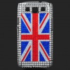 UK National Flag Pattern Shining Rhinestone Plastic Case for Samsung i9300 - Silver + Red + Blue