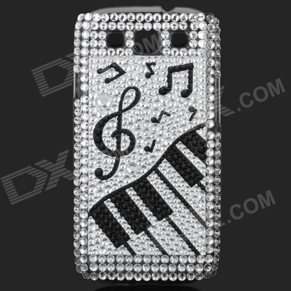 Musical Symbols Style Rhinestone Plastic Case for Samsung i9300 Galaxy S3 - Black + White + Silver fashionable protective bumper frame case with bowknot for samsung galaxy s3 i9300 black