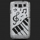 Musical Symbols Style Rhinestone Plastic Case for Samsung i9300 Galaxy S3 - Black + White + Silver