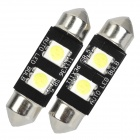 Festoon 0.72W 24LM 2x5050 SMD White LED Car Reading Bulb (Pair)