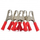 Car 100A Alligator Nickel Plating Battery Clips / Clamp - Red (5-Piece Pack)