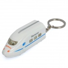Bullet Train Style Keychain with Squeak and White Light - White (3 x AG10)
