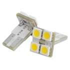 T10 2W 60LM 4x5050 SMD LED Warm White Light Car Dome / Decoration Lamps (2-Piece Pack)
