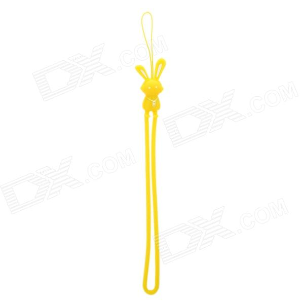 Cute Cartoon Rabbit Figure Doll Silicone Cell Phone Strap - Yellow