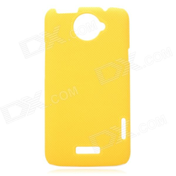 Small Holes Style Protective PE Back Case for HTC One X S720e - Yellow matte protective pe back case for htc one x s720e deep pink