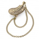Coole Blattform Ohrring mit Kette - Bronze