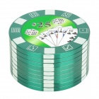 Poker Chip Style 3-Layer Herb Cigarette Tobacco Grinder - Green