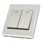 SMEONG Stainless Steel Frame Two Gang Power Control Wall Switch - Silver
