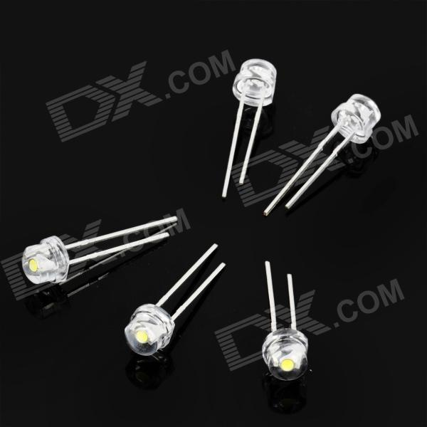 F5 6000~7000K 4000MCD White LED Light Emitting Diodes (5-Piece Pack)