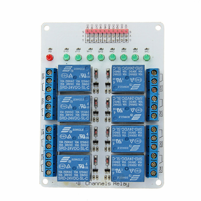8-Channel 24V Relay Module Expansion Board for Arduino (Works with Official Arduino Boards) one channel 24v relay module for arduino works with official arduino boards