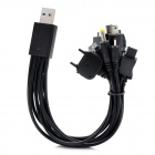 10-in-1 USB Charging Cable Charger w/ TF/SD Card Reader for iPhone / Samsung / HTC / Nokia - Black