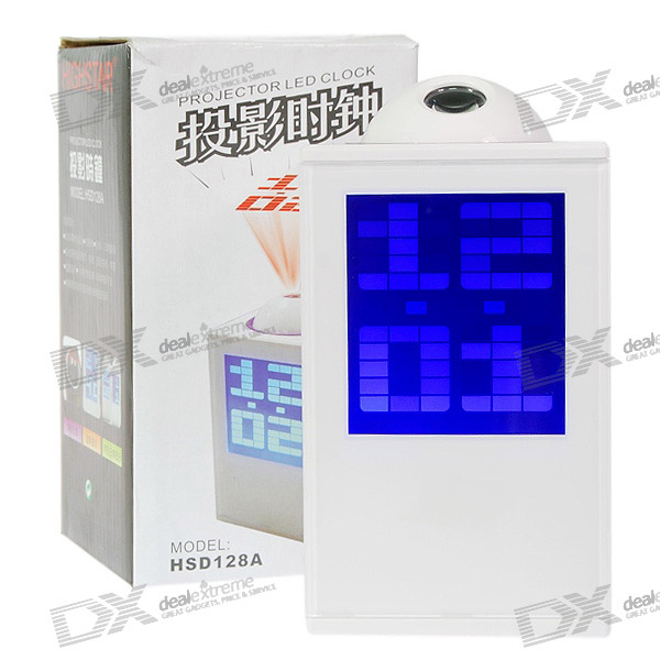 LED Display Projection Clock with Digital Themometer