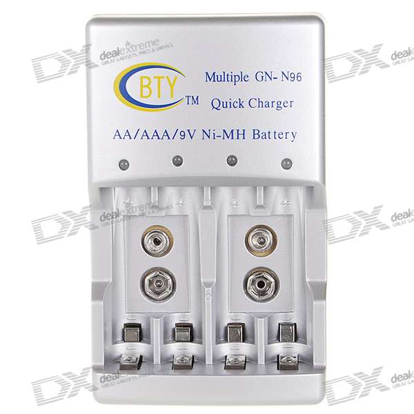 BTY Smart Auto-Stop 4-Channel Quick Charger for AA/AAA/9V 6F22 Batteries (100V~240V AC)