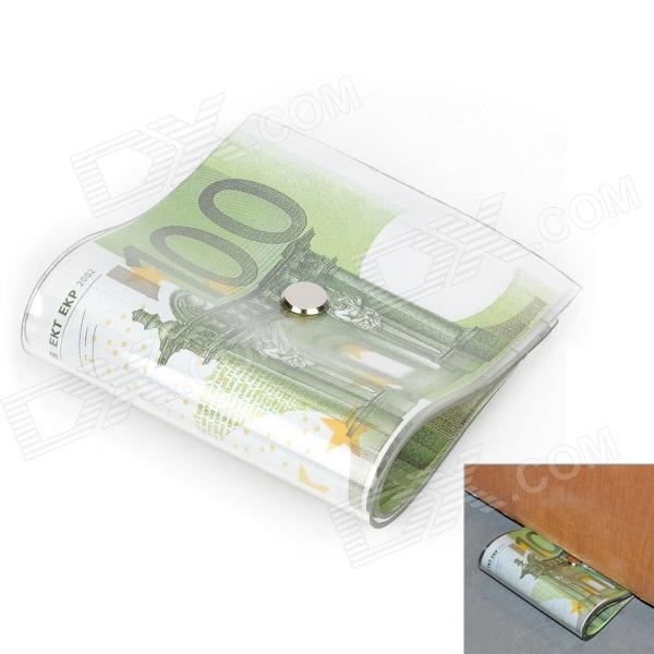Creative 100 Euro Note Style Door Stopper Guard - Green + White creative 100 dollar bill style door stopper guard white green black