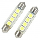 Festoon 42mm 2W 4x5050 SMD LED White Light Car Brake / Clearance / Decoration Lamp (12V / 2-Piece)