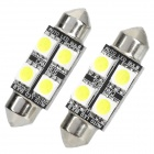 36mm 1.44W 80LM 4x5050 SMD LED White Car Reading / Door Lock Warning Lamps (2-Piece Pack)