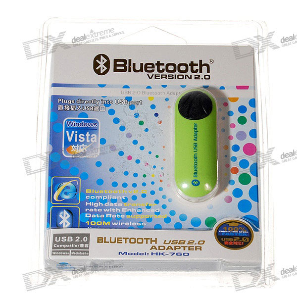 USB 2.0 Bluetooth 2.0 100-Meter/300-Foot Range Class 2 Wireless Dongle (Green)