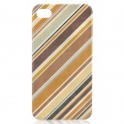 Stylish Oblique Stripe Pattern Protective Plastic Back Case for Iphone 4 / 4S - Brown + Yellow
