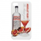 Fantasy Abstraction Drinks Pattern Protective Plastic Back Case for Iphone 4 / 4S - White + Orange