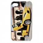 Fantasy Abstraction Car Pattern Protective Plastic Back Case for Iphone 4 / 4S - Yellow