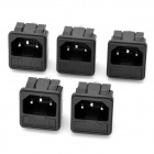 3-Pin Power Socket with Fuse for DIY Project - Black (5-Piece Pack)