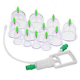Chinese Medical Plastic 12-Cup Body Cupping Set - White