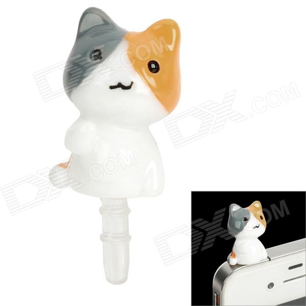 Double-sided Cat Style 3.5mm Earphone Jack Anti-Dust Kit - Grey + Orange + White
