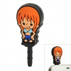 Smart Girl Style 3.5mm Earphone Jack Anti-dust Kit - Orange + Black