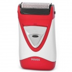 POVOS Dual-Head Reciprocating Electric Shaver Razor -Silver + Red (2 x AA)