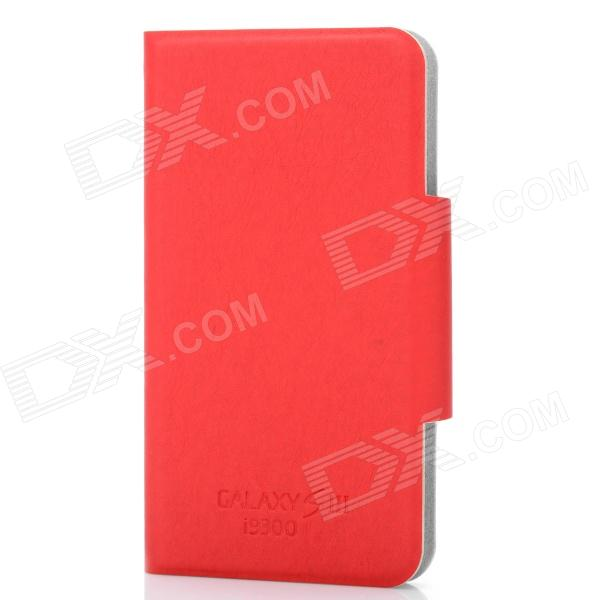 Ultra-Thin Protective Flip-Open PU Leather Case for Samsung Galaxy S3 i9300 - Red
