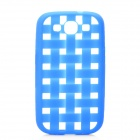 Weave Pattern Hollow Out Soft Silicone Case for Samsung i9300 Galaxy S3 - Blue