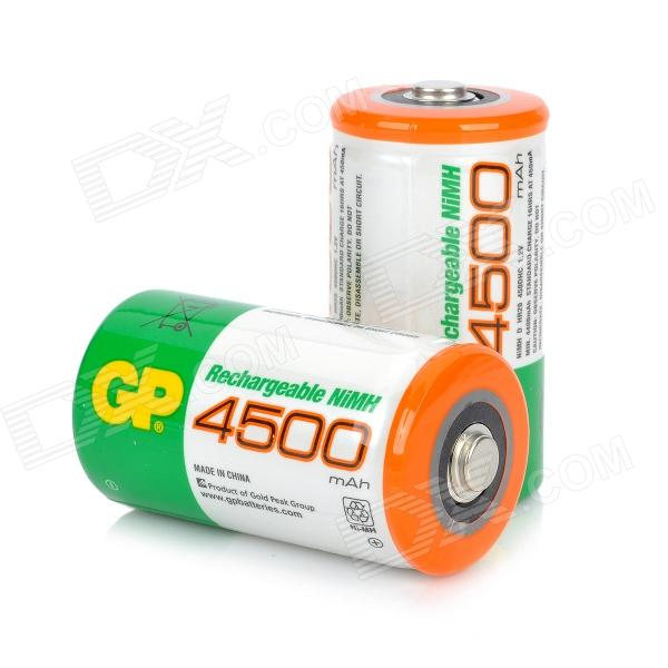 GP D-Type Rechargeable 4500mAh Ni-MH Battery - Green + White (2-Piece Pack) electric drill battery 18v 2500mah ni mh cd for bosch bat025 bat026 bat160 bat180 bat181 bat189 2 610 909 020 2 5ah battery