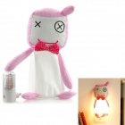 Cute Smiling Doll LED Night Wall Lamp - Pink + White