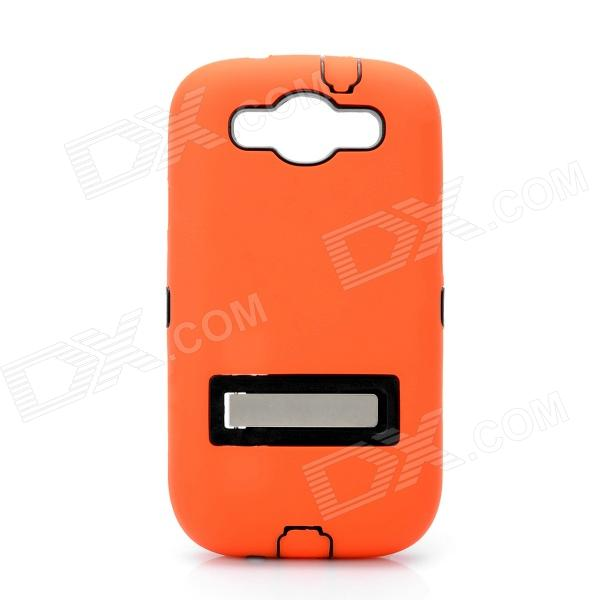 Robot Style Protective Plastic Back Case w/ Silicone Cover for Samsung i9300 - Orange + Black