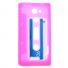 Vintage Cassette Style Protective Silicone Back Case for HTC One X - Deep Pink
