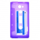 Retro Cassette Tape Style Protective Soft Silicone Case for HTC One X - Purple