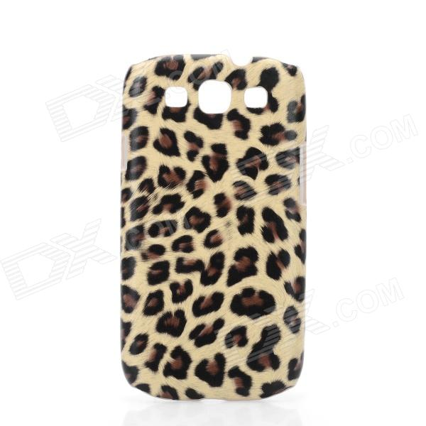 Plush Leopard Skin Pattern Protective PU Back Case for Samsung Galaxy S3 i9300 - Coffee cool snake skin style protective pu leather case for samsung galaxy s3 i9300 brown