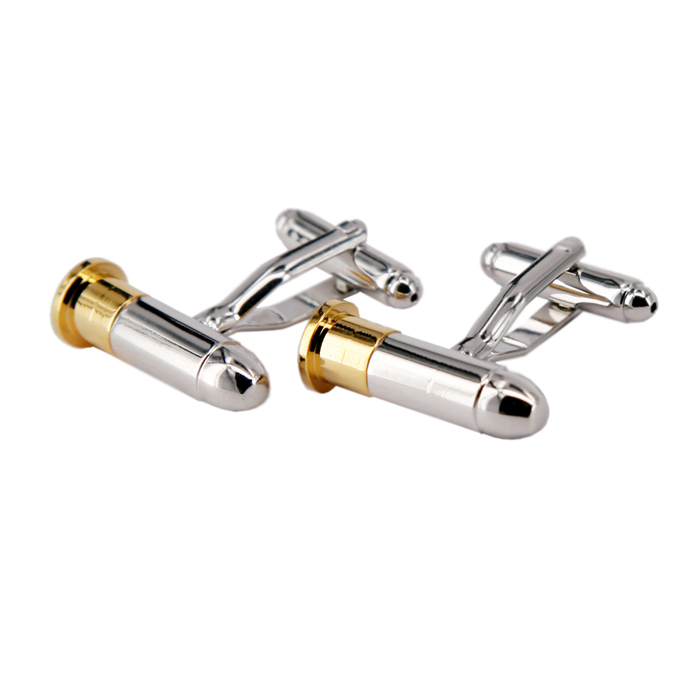 Fashion Bullet Style White Steel Plated Cufflinks for Men - Golden + Silver (Pair) кардиган cleverly cleverly cl019egveg04