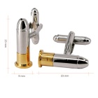 Fashion Bullet Style White Steel Plated Cufflinks for Men - Golden + Silver (Pair)