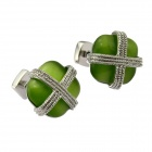 Fashion Square Opal Cufflinks w/ Cross Line for Men - Golden + Green (Pair)