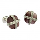 Stylish Men's Square Opal Cufflinks w/ Cross Line - Golden + Brown (Pair)