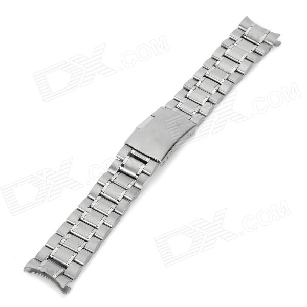 Curve End Solid Steel Wristwatch Strap Watchband - Silver
