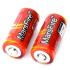 "MarsFire Protected Rechargeable 3.7V ""900mAh"" 16340 Battery for Flashlight - Red (2-Piece Pack)"