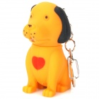 Mini Dog Shape Keychain with White Light and Bark Sound - Earthy Yellow (3 x AG10)