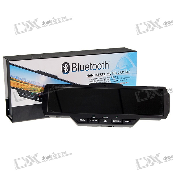 All-in-1 Multimedia Bluetooth Rearview Mirror Handsfree Car Kit with MP3 Player and FM Transmitter